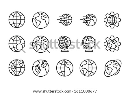 Icon set of globe. Editable vector pictograms isolated on a white background. Trendy outline symbols for mobile apps and website design. Premium pack of icons in trendy line style.