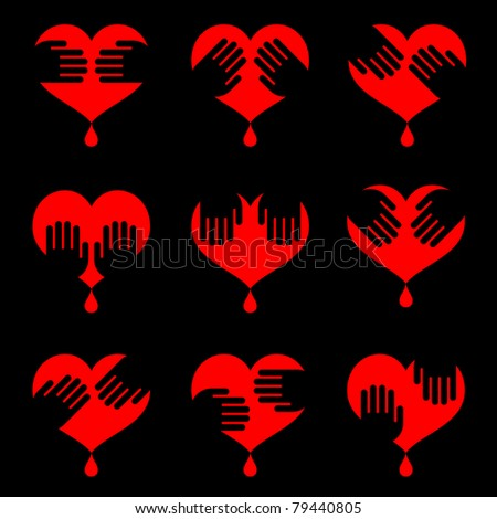 icon set of human hearts with hands on it isolated on black