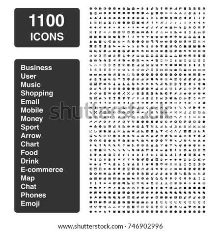 Icon set of 1100 icons - Mixed categories