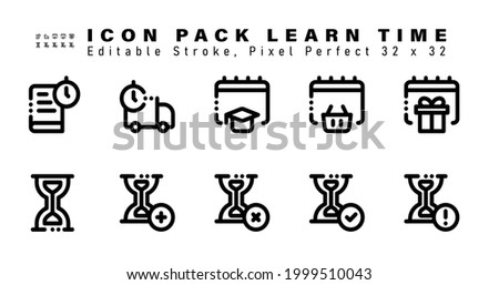 Icon Set of Learn Time Line Icons. Contains such Icons as Gift Date, Hourglass, Hourglass Add, Hourglass Cancel, Hourglass Check etc. Editable Stroke. 32 x 32 Pixel Perfect