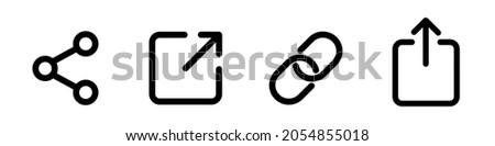 Icon set of link. Link, share link, external link black vector icon set. Isolated symbols on white background. Redirecting links button. Web UI design. Vector illustration EPS 10