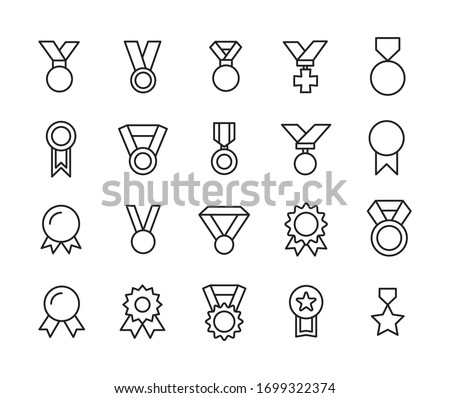 Icon set of medal. Editable vector pictograms isolated on a white background. Trendy outline symbols for mobile apps and website design. Premium pack of icons in trendy line style. Stockfoto ©