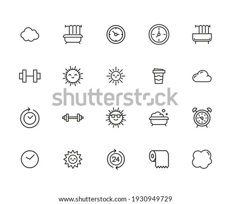 Icon set of morning. Editable vector pictograms isolated on a white background. Trendy outline symbols for mobile apps and website design. Premium pack of icons in trendy line style. Photo stock ©