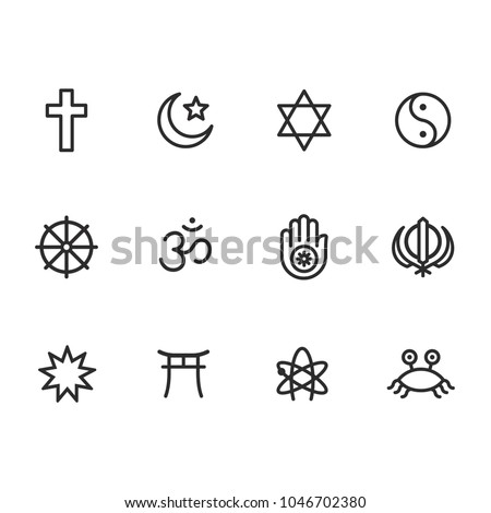 Icon set of religion symbols. Main world religious and atheist pictograms in simple modern line icon style. Vector illustration signs.