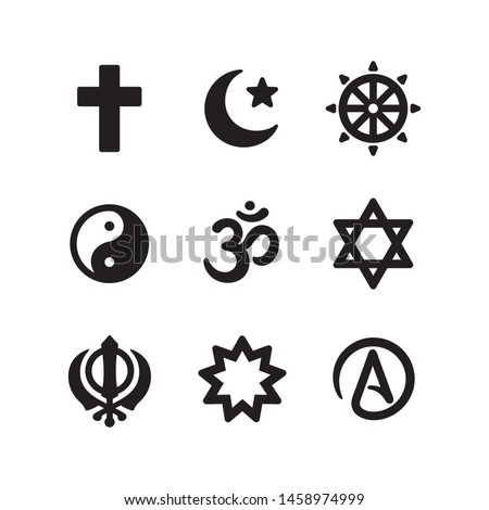 Icon set of religious symbols. Christianity, Islam, Buddhism, other main world religions and Atheism sign, simple and modern minimal style. Vector pictogram collection.