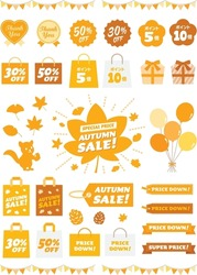 Icon set of seal and tag of the autumn sale with Japanese letter. Translation :