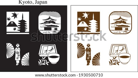 icon set of sightseeing spots