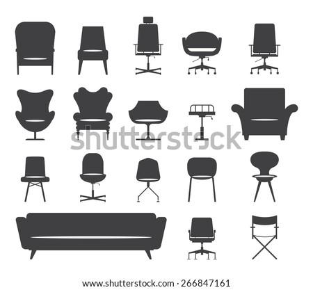 icon set of silhouette modern