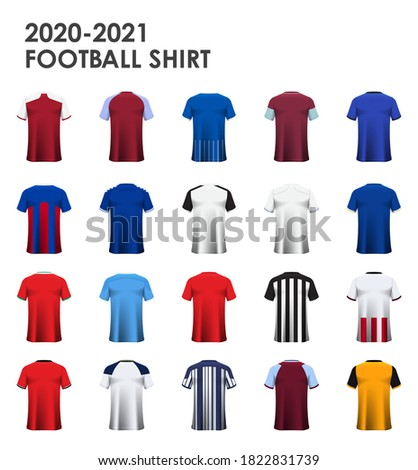 Icon set of soccer kit or football jersey mockup template design for 20 team English football club. Football shirt or sport uniform in back view. Realistic football shirt mockup. Vector Illustration.