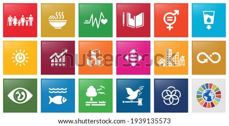 Icon set of Sustainable Development social work. Corporate social responsibility project resource. Goals to success. Vector Icon.
