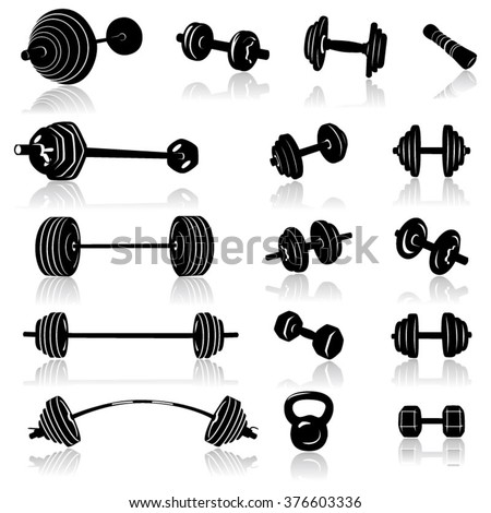 Icon Set Of Weights- Illustration