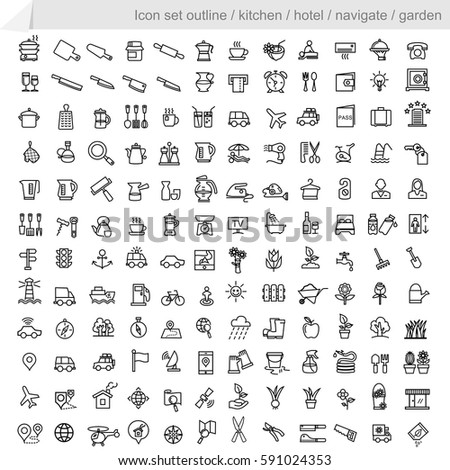 icon set outline.Equipment in the hotel kitchen equipment, navigation equipment and gardening.vector
