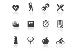 Icon set - Reflection - Fitness - Illustration