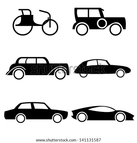 icon set representing evolution of cars through history easy editable vector illustration. Black Bedroom Furniture Sets. Home Design Ideas
