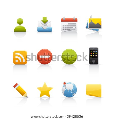 Icon Set - Social Media. Set of icons on white background in Adobe Illustrator EPS 8 format for multiple applications.