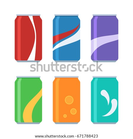 Icon set soda in colored aluminum cans. Cold drinks sign. Vector illustration in cartoon style isolated on white background