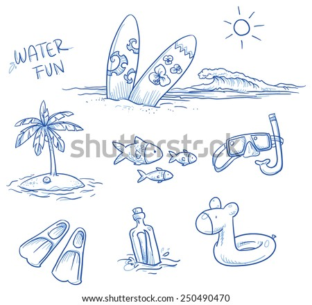 Icon Set Summer Beach Holidays Vacation With Surfboard Palm Tree Fish Swimming