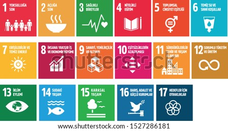icon set  The Global Goals. Corporate social responsibility. Sustainable Development Goals turkish