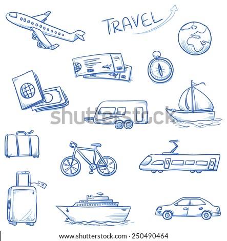 icon set travel holidays