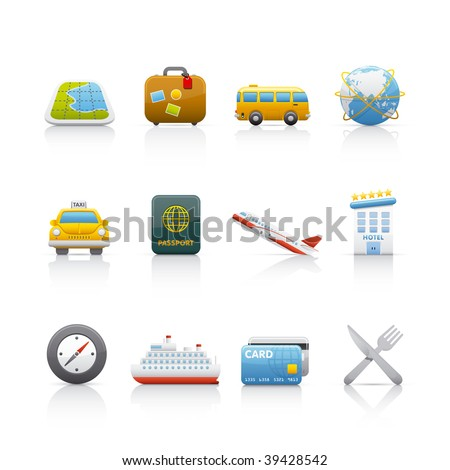 Icon Set - Travel. Set of icons on white background in Adobe Illustrator EPS 8 format for multiple applications.