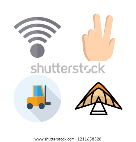 icon set. vector set about duty, paragliding, wifi and peace icons set.