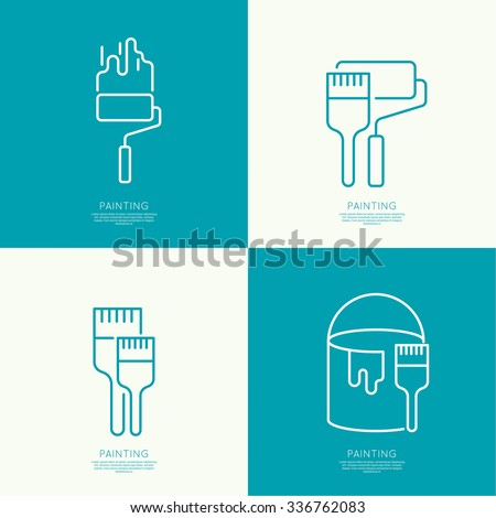 icon set with brush  roller