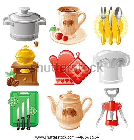 Icon set with cooking utensil crockery objects: pan, tea cup with cherry, fork, knife and  spoon set, coffee mill, oven glove, chef's hat, board with knifes, porcelain teapot and corkscrew.
