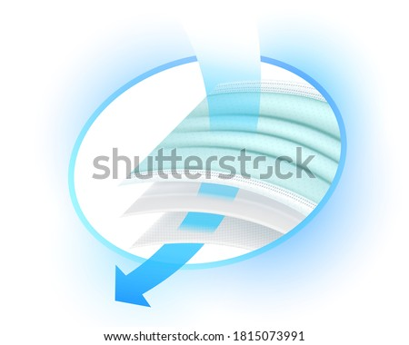 Icon showing details of air filtration and virus germs Dust of medical surgical mask with 3 layers filter, the filter is used to advertise sanitary masks. Air filter layer