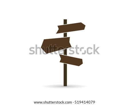 Icon signpost. Directions to different places.