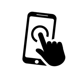 Icon smartphone in flat style isolated on white background. Mobile phone with hand symbol. Simple abstract click sign in black. Vector illustration