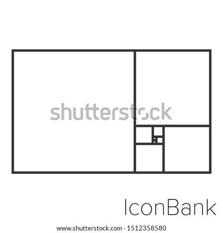 Icon square fibonacci in black and white Illustration.