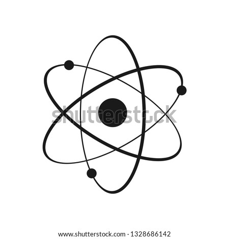 Icon structure of the nucleus of the atom. Atom, protons, neutrons and electrons. Vector