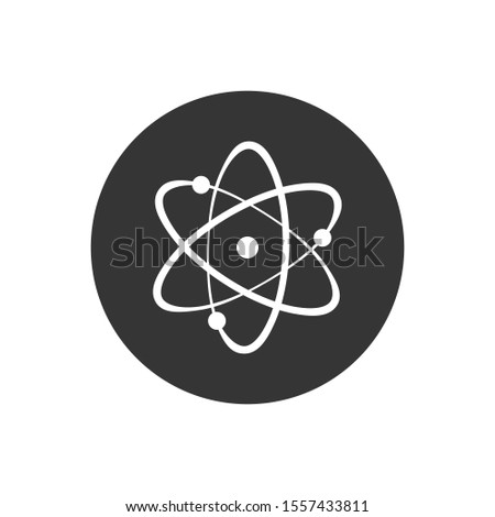 Icon structure of the nucleus of the atom. Atom, protons, neutrons and electrons. Vector illustration