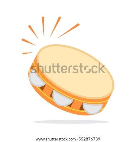 Icon Tambourine in a flat style for the web. vector illustration isolate on a white background. easy to use Stock photo ©