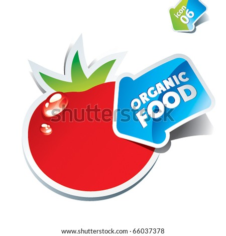 Icon tomato with an arrow by organic food. Vector illustration.