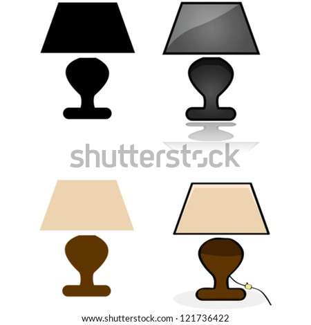 Icon vector illustration showing a table lamp in four different styles