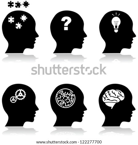 Icon vector illustrations showing a collection of heads with different thoughts