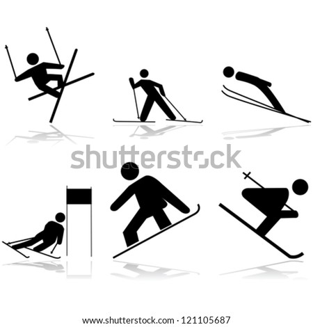 Icon vector illustrations showing different winter sports performed on snow surfaces