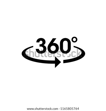 Icon vector of 360-degree app for 360-area view and circular arrows in basic shape