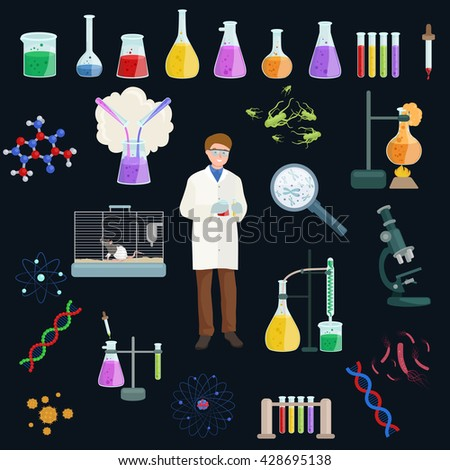 icon vector set science lab,reaction tools,chemistry laboratory equipment, chemist doing experiment or medical test,biotechnology discovery analysis,  biology analyzing technology illustration