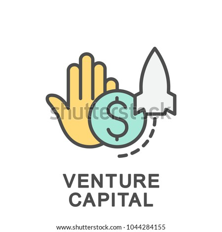 Icon venture capital. Investments to finance a new venture. The thin contour lines with color fills.