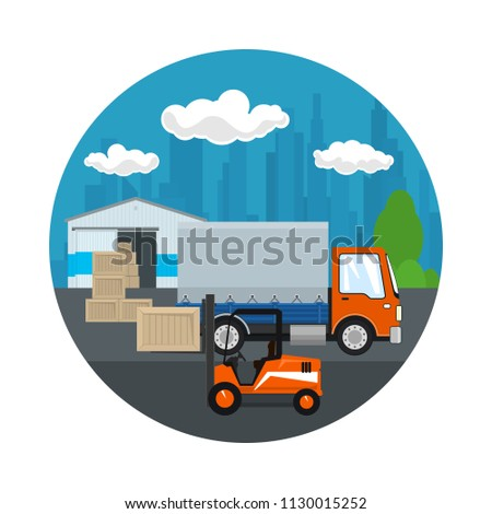 Icon ,Warehouse and Transport Services ,Orange Forklift Truck and Covered Lorry in front of the Warehouse , Unloading or Loading of Goods , Vector Illustration