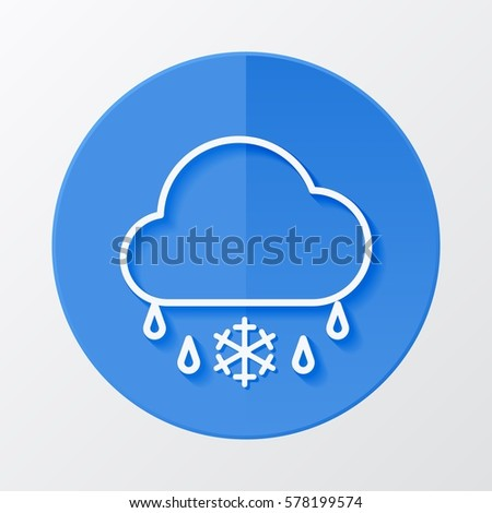 Icon weather cloud and sleet on a blue circle