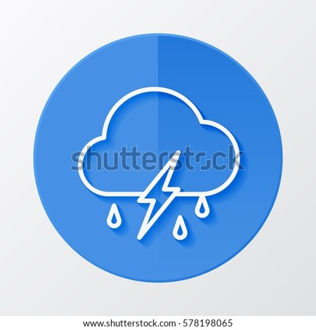 Icon weather cloud, rain with lightning on a blue circle
