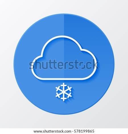 Icon weather cloud with snow on a blue circle