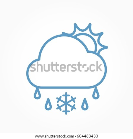 Icon weather sun, cloud, sleet on a white background