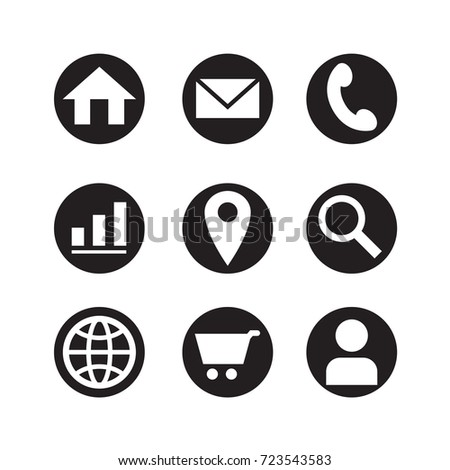icon web in black circle, vector