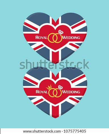 Icon Wedding invitation in the form of a heart textured under the British flag. On the card there is a crown, wedding rings and text: Royal Wedding. #1075775405