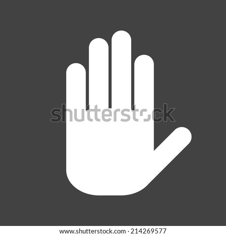 Icon white hand on a grey background
