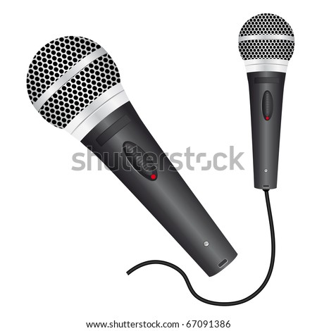 Icon with a black microphone. Vector illustration